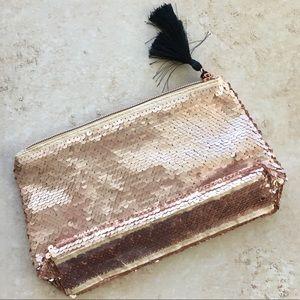 Tarte Rose Gold Sequin Cosmetic Makeup Bag NWT